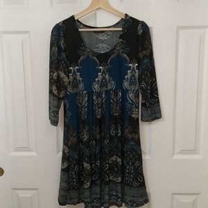 Reborn teal and black Western dress size L